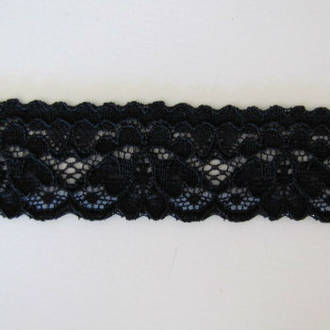 Black Embossed Lace Elastic 25mm  1.25 inch wide