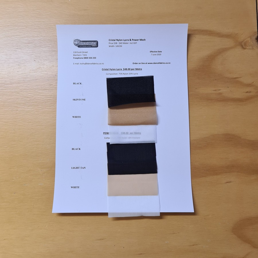 Power Mesh and Cristal Nylon Lycra Sample Chart